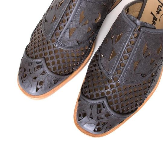 Free People Cut-out Floral Leather Gray Mules Image 1