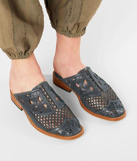 Free People Cut-out Floral Leather Gray Mules Image 2