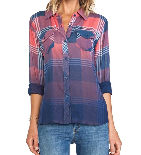 Rails Flannel Plaid Western Ombre Button Down Shirt Red Image 1