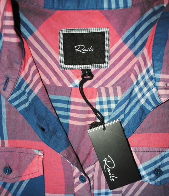 Rails Flannel Plaid Western Ombre Button Down Shirt Red Image 2