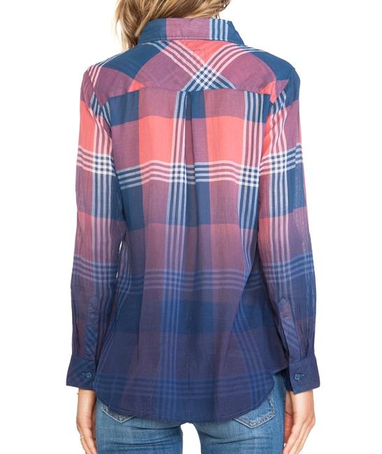 Rails Flannel Plaid Western Ombre Button Down Shirt Red Image 3