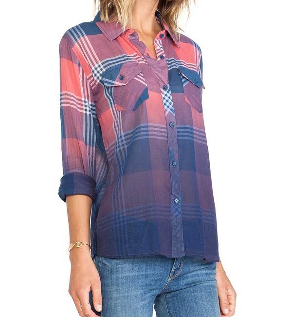 Rails Flannel Plaid Western Ombre Button Down Shirt Red Image 4