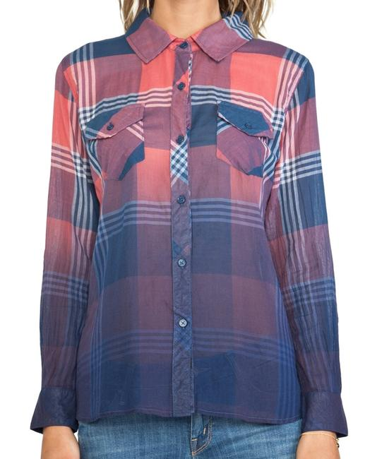 Rails Flannel Plaid Western Ombre Button Down Shirt Red Image 5