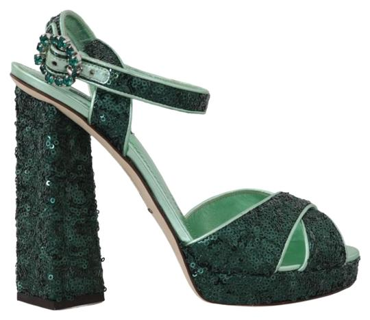 Preload https://img-static.tradesy.com/item/25822314/dolce-and-gabbana-green-sequined-leather-crystal-sandals-size-eu-39-approx-us-9-regular-m-b-0-1-540-540.jpg