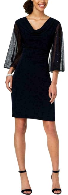 Preload https://img-static.tradesy.com/item/25822344/connected-apparel-blue-navy-cowl-neck-sheer-sleeves-mid-length-cocktail-dress-size-12-l-0-1-650-650.jpg
