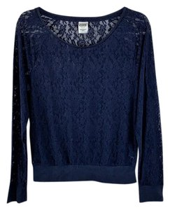 Victoria's Secret Flowers Lace Longsleeve Stretch Top Blue
