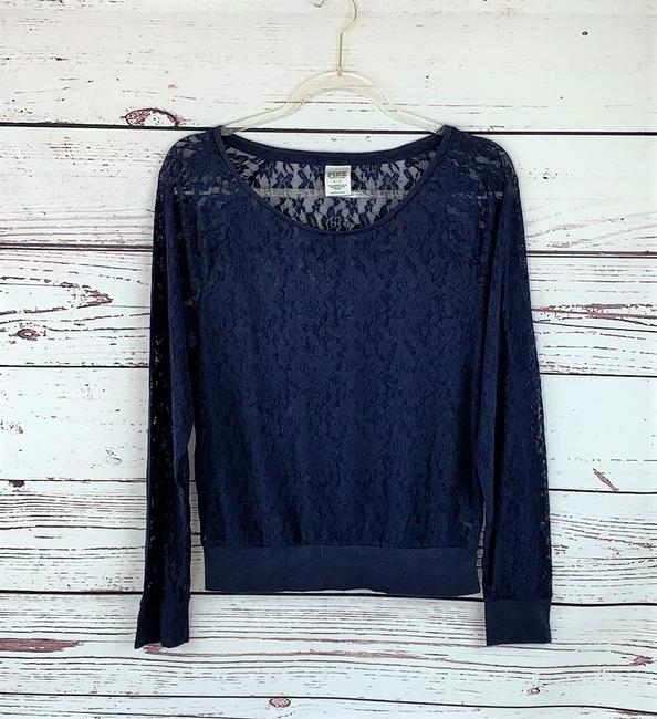 Victoria's Secret Flowers Lace Longsleeve Stretch Top Blue Image 1
