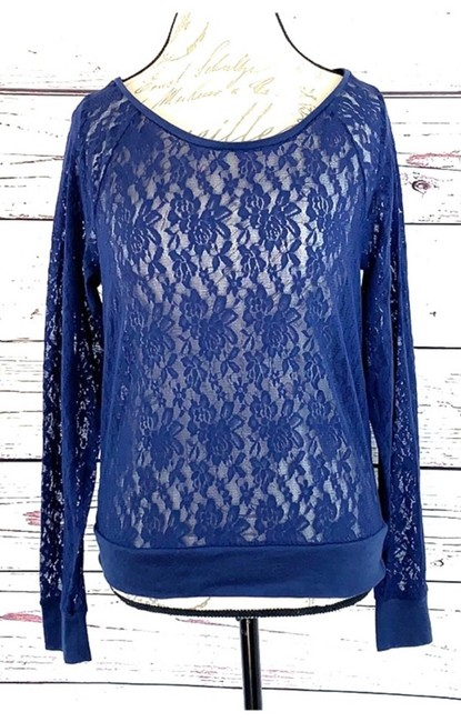 Victoria's Secret Flowers Lace Longsleeve Stretch Top Blue Image 2
