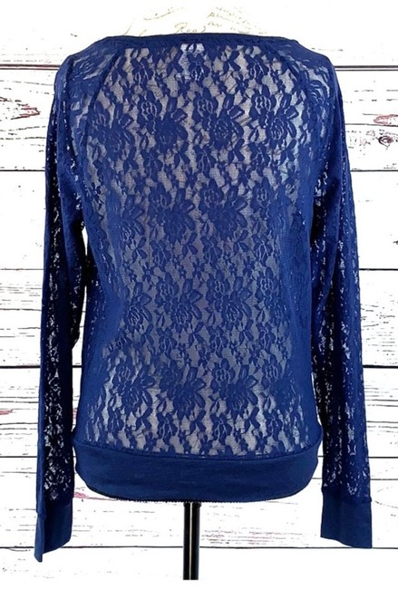 Victoria's Secret Flowers Lace Longsleeve Stretch Top Blue Image 3