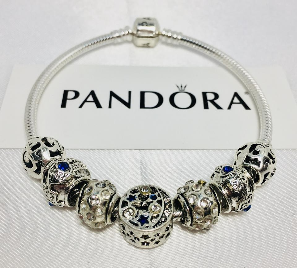 f6b755e21b3ce PANDORA Dark Blue I Love You To The Moon and Back Charm with Silver Charms  Bracelet
