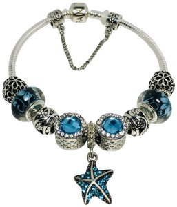 PANDORA Blue Ocean Star Charm • Authentic Pandora Bracelet • Silver Charms