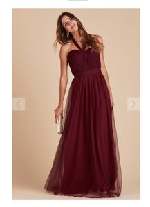 Burgundy Tulle Convertible Cabernet Formal Bridesmaid/Mob Dress Size 12 (L)