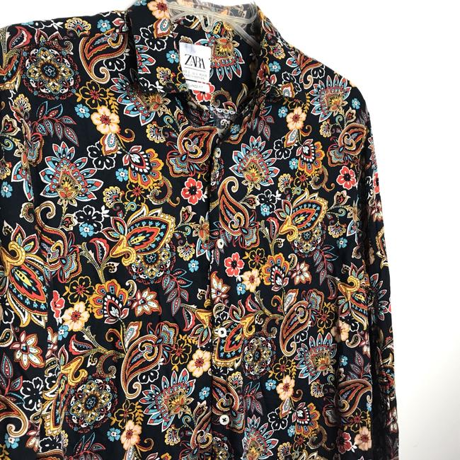 Zara Button Down Shirt Multi-Colored Image 4