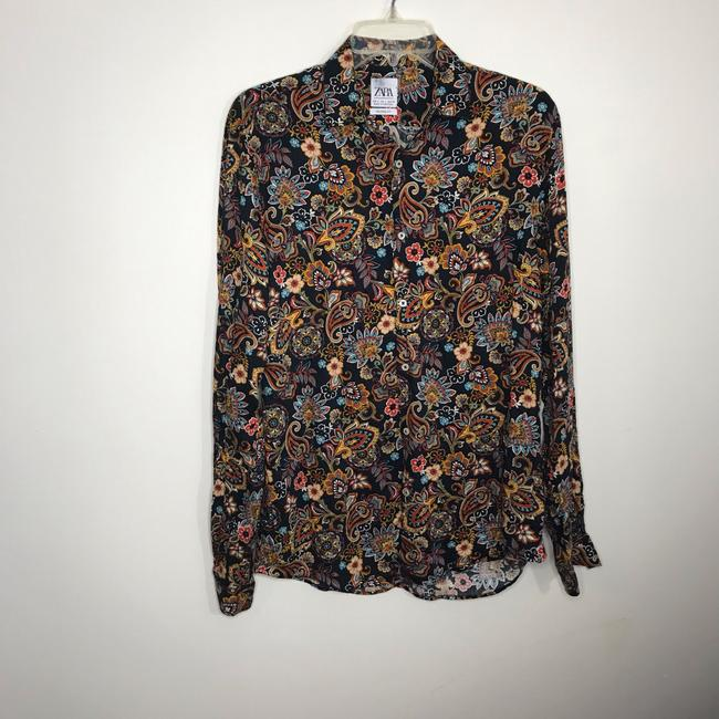 Zara Button Down Shirt Multi-Colored Image 5