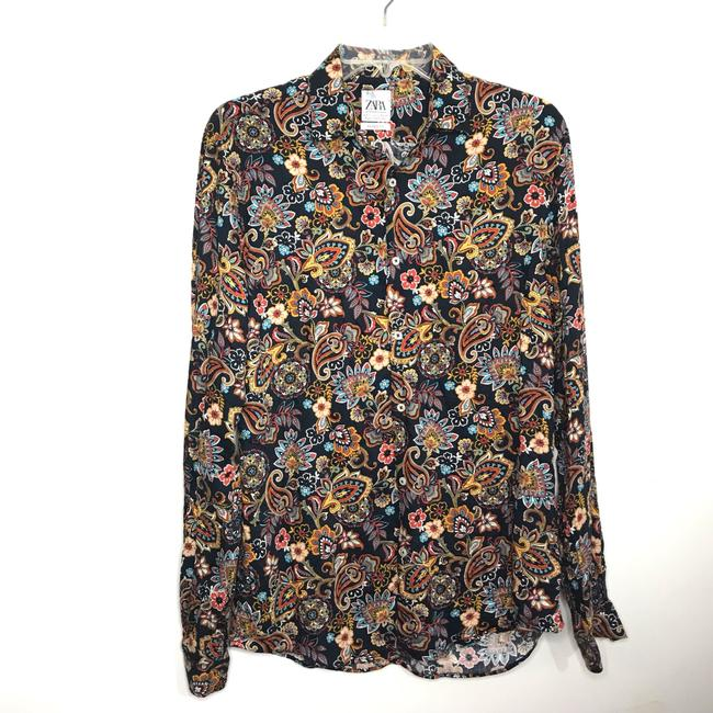 Zara Button Down Shirt Multi-Colored Image 6