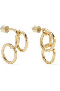 JENNIFER FISHER Jennifer Fisher Triple Hoops Gold Plated Circle Charm Drop Earrings