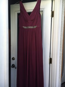 David's Bridal Wine Mesh with Beads On Belt Formal Bridesmaid/Mob Dress Size 6 (S)
