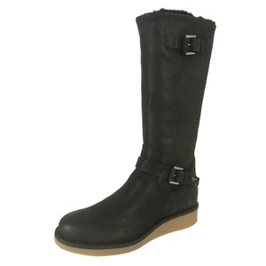 Emporio Armani Fur Lined Leather Winter Wedge Nero/Black Boots
