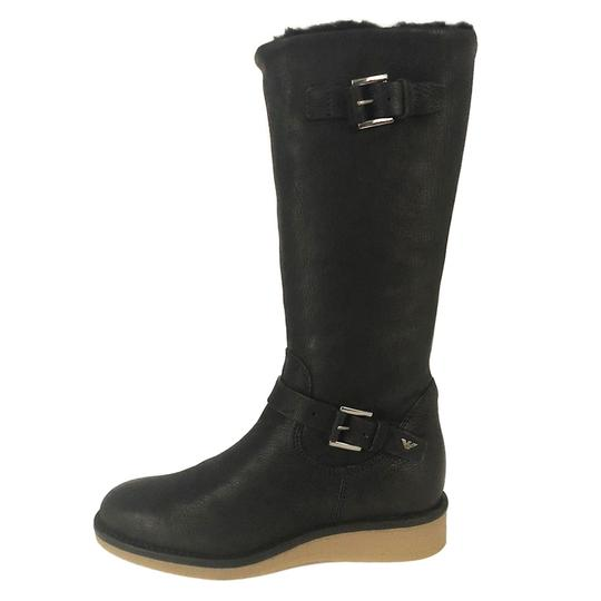 Emporio Armani Fur Lined Leather Winter Wedge Nero/Black Boots Image 3