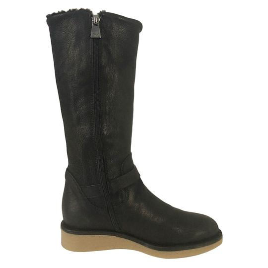 Emporio Armani Fur Lined Leather Winter Wedge Nero/Black Boots Image 4