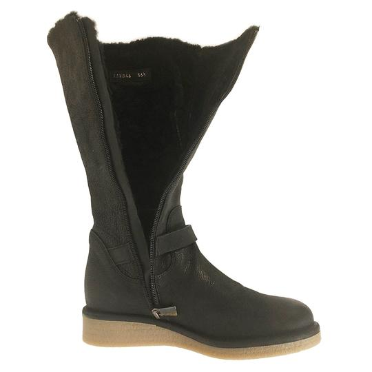 Emporio Armani Fur Lined Leather Winter Wedge Nero/Black Boots Image 5