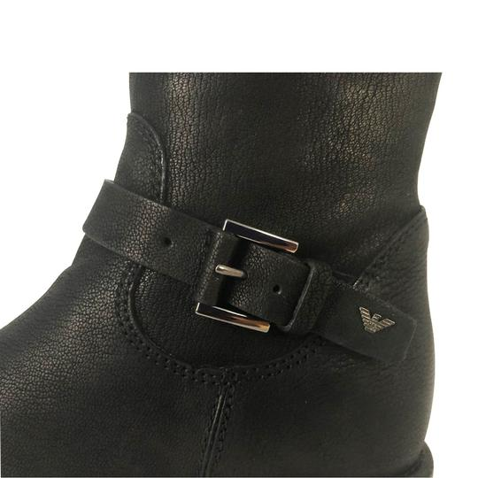 Emporio Armani Fur Lined Leather Winter Wedge Nero/Black Boots Image 6