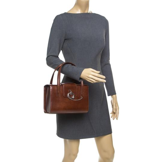 Cartier Patent Leather Satchel in Brown Image 1