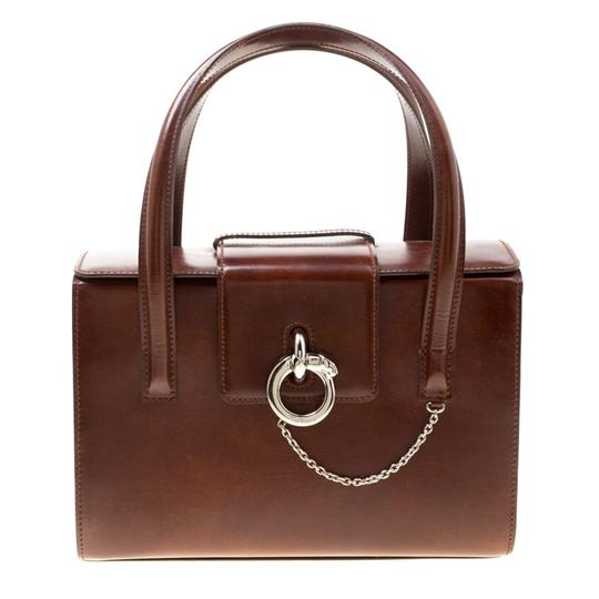 Cartier Patent Leather Satchel in Brown Image 2