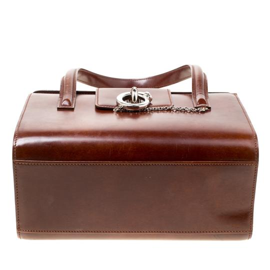 Cartier Patent Leather Satchel in Brown Image 3