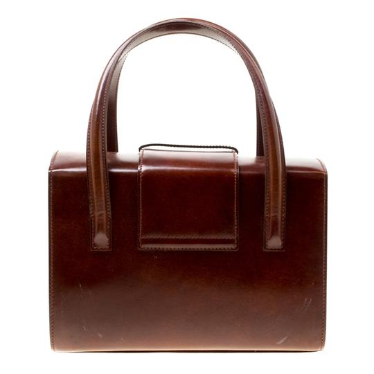 Cartier Patent Leather Satchel in Brown Image 4