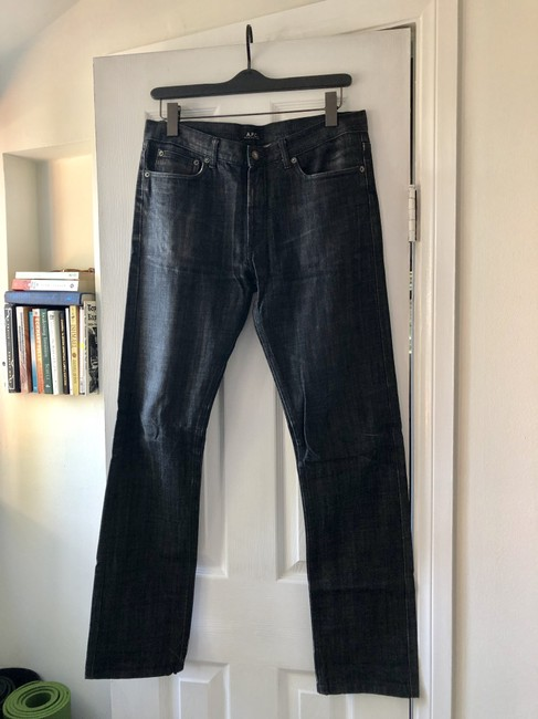 A.P.C. Denim Two-tone Fitted Cotton Straight Leg Jeans-Medium Wash Image 2