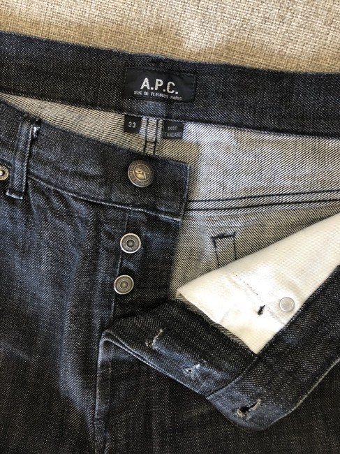 A.P.C. Denim Two-tone Fitted Cotton Straight Leg Jeans-Medium Wash Image 6