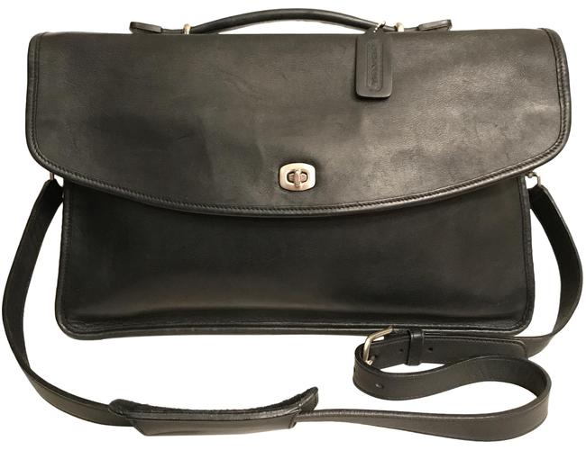 Item - Lexington Legacy Briefcase 5265 Black Silver Leather Laptop Bag