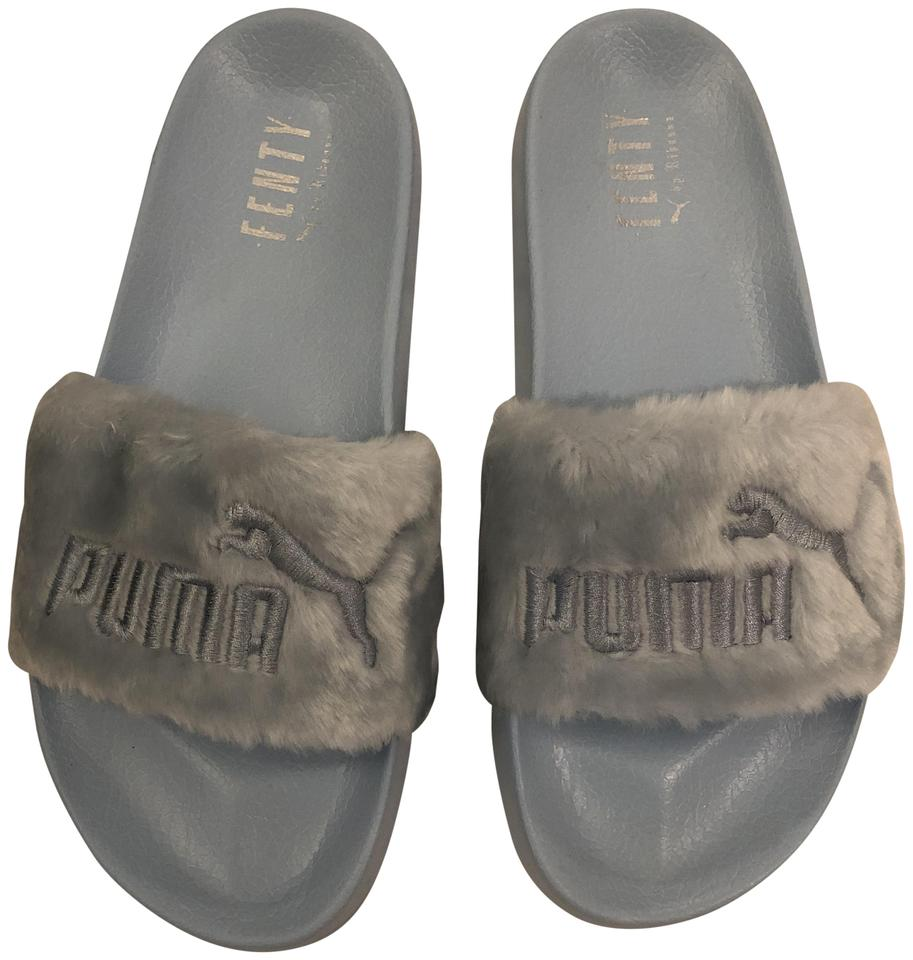 check out bb49a 6e6ca FENTY PUMA by Rihanna Blue Cool Silver Fur Slides Sandals Size US 9.5  Regular (M, B)