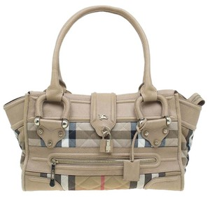 Burberry Leather Nylon Satchel in Cream