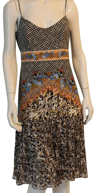 Item - Black and White Multi Mid-length Short Casual Dress Size 4 (S)