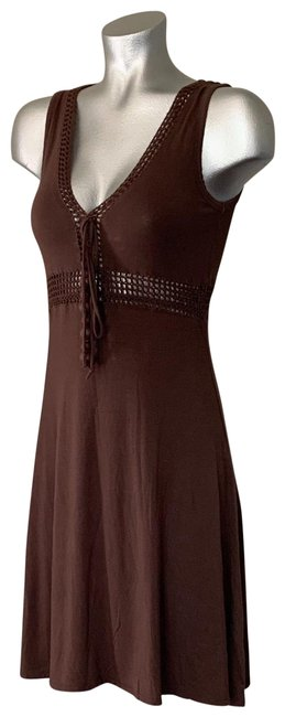 Item - Brown Crochet Mid-length Short Casual Dress Size 2 (XS)