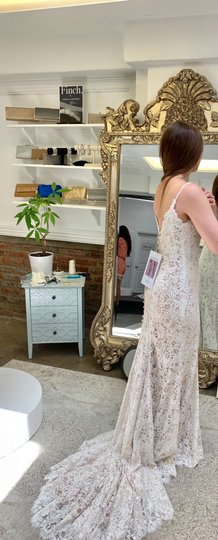 Allure Bridals Champagne/Ivory Lace & Gown Never Worn Feminine Wedding Dress Size 8 (M) Image 5