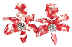 Lele Sadoughi BRAND NEW Lele Sadoughi Small Cherry Red Crystal Lily Flower Earrings