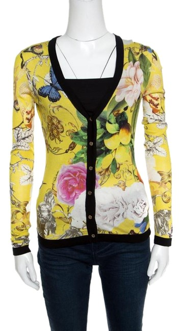 Preload https://img-static.tradesy.com/item/25823730/roberto-cavalli-yellow-wonderland-print-silk-knit-button-front-cardigan-size-4-s-0-1-650-650.jpg