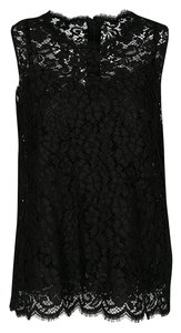 Dolce&Gabbana Floral Lace Sleeveless Top Black