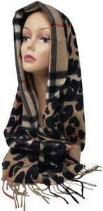 Burberry Light brown multicolor Burberry Leopard Nova Check print scarf