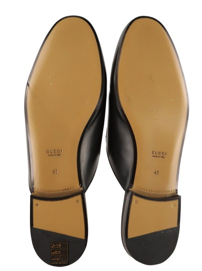 Gucci Leather Gold Hardware Black Flats Image 9