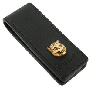 Gucci Gucci 522867 Men's Calfskin Money Clip Black,Gold