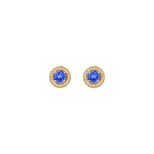 Marco B December Birthstone Created Tanzanite and CZ Halo Stud Earrings Image 0