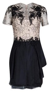 Marchesa Notte short dress Beige Floral Lace Silk Polyester on Tradesy