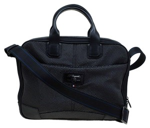 S.T. Dupont Leather Satin Textured Satchel in Black
