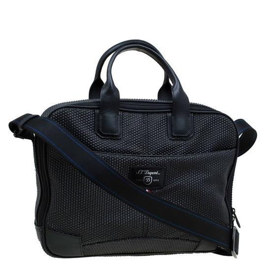 S.T. Dupont Leather Satin Textured Satchel in Black Image 3