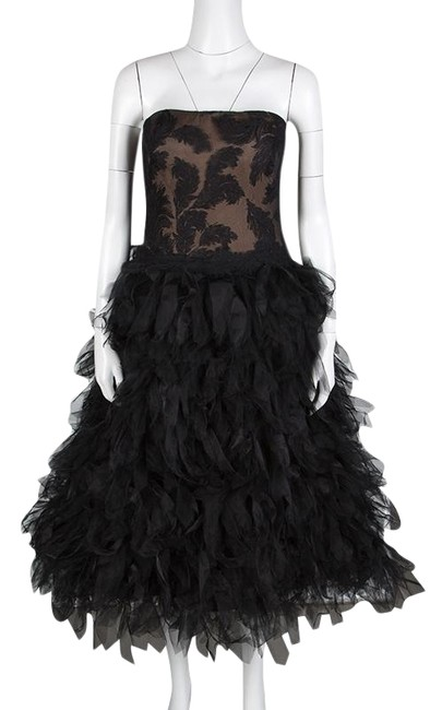 Preload https://img-static.tradesy.com/item/25824866/tadashi-shoji-black-tulle-embroidered-faux-feather-strapless-mid-length-formal-dress-size-8-m-0-1-650-650.jpg