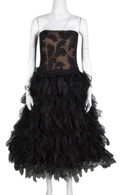 Preload https://img-static.tradesy.com/item/25824876/tadashi-shoji-black-l-tulle-embroidered-faux-feather-strapless-mid-length-formal-dress-size-12-l-0-1-650-650.jpg